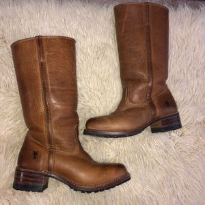 Brown FRYE shearling lined pull on boots sz 7.5